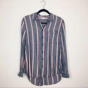 BeachLunchLounge Button Down Striped Flannel